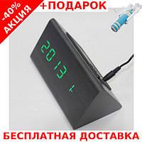 Часы настольные с будильником VST-861-2  864 в виде дерев.бруска с подсветкой + монопод