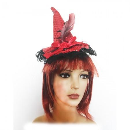 Шляпка на ободке Ведьмочки с кружевом красная