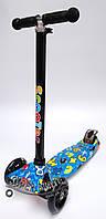 Трехколесный детский самокат со светящимися колесами Scooter MAXI PRINT - Буквы - Синий
