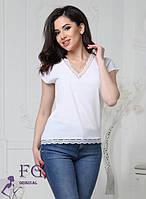 Блуза женская с кружевом белая 066, фото 1