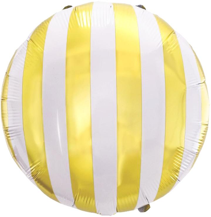 """Фол шар 18"""" Круг золотые полосы Белый (Китай)"""