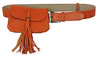 Набор сумка женская на пояс+ремень кожаные Monohrome Оранжевый (74688)