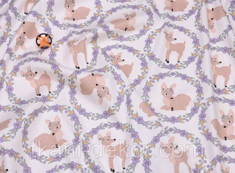 Сатин (хлопковая ткань) бемби в фиолетовой рамке