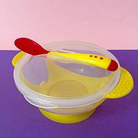 Детский набор посуды  на присоске желтый (тарелка, ложка. крышка) Bambi