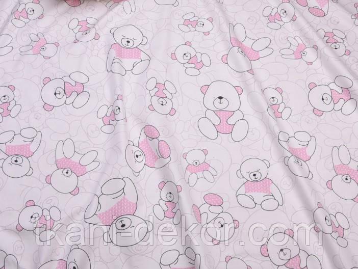 Сатин (бавовняна тканина) ведмедики з рожевою кіскою