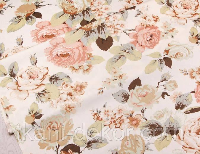 Сатин (бавовняна тканина) велика чайна троянда
