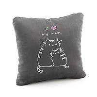 Подушка подарочная для женщин «Люблю маму» темно серый флок_склад