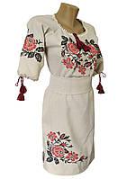 Українська вишита сукня до колін із льону та рукавом 3/4 «Троянди»