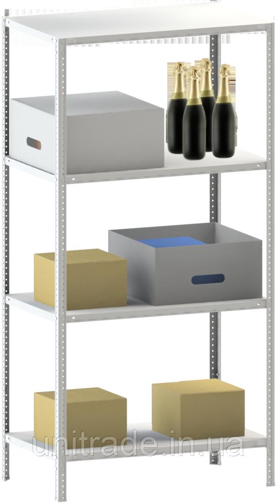 250х70х60 4 полки 100 кг на полку Стеллаж для архива склада металлический крашенный Серый цвет