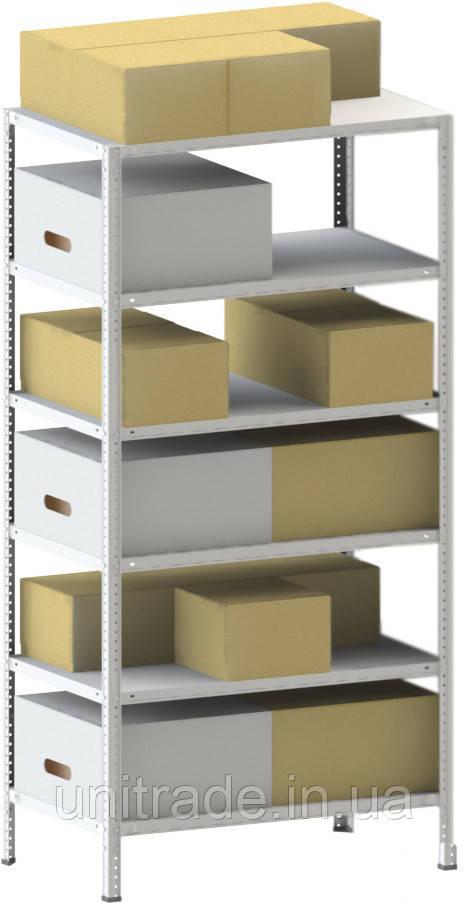 250х100х30 6 полок 120 кг на полку Стеллаж для архива склада металлический крашенный Серый цвет
