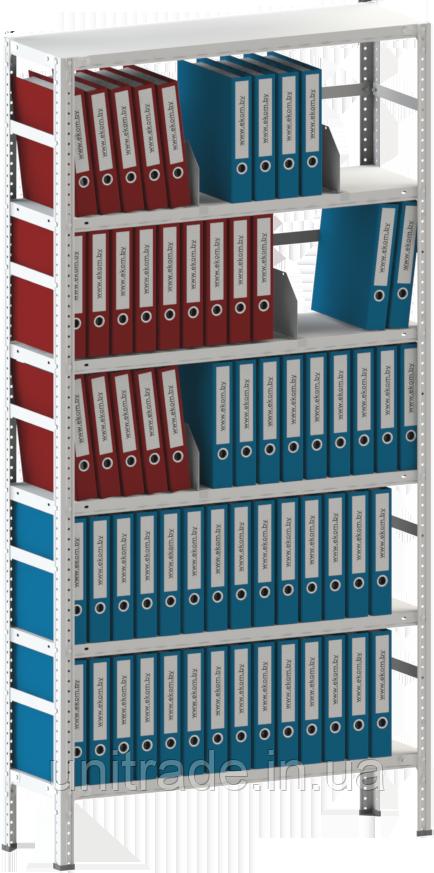 250х100х40 6 полок 120 кг на полку Стеллаж для архива склада металлический крашенный Серый цвет