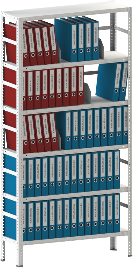 200х100х50 6 полок 150 кг на полку Стеллаж для архива склада металлический крашенный Серый цвет