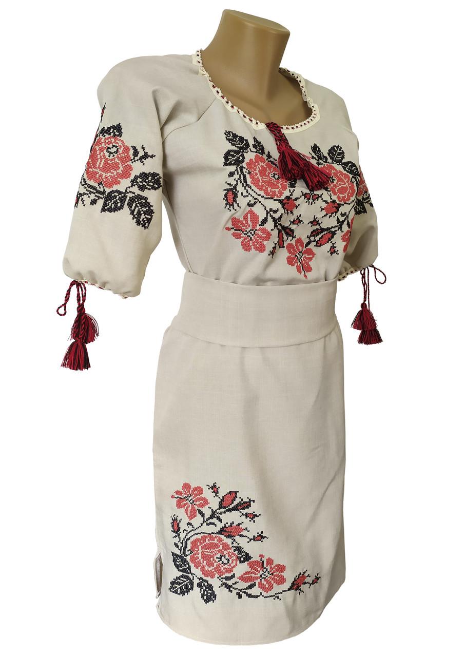 Стильна вишита жіноча сукня із льону середньої довжини із рукавом 3/4 «Троянди»