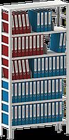 250х100х50 6 полок 150 кг на полку Стеллаж для архива склада металлический крашенный Серый цвет