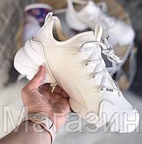 Женские кроссовки Dior D-Connect White (в стиле Диор) белые, фото 2