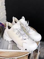 Женские кроссовки Dior D-Connect White (в стиле Диор) белые, фото 3