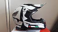 Шлем кроссовый Чёрно белый Podium + текстильная маска