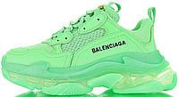 Женские кроссовки Balenciaga Triple S Neon Green Clear Sole Баленсиага Трипл С зеленые