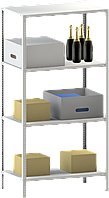 200х120х60 4 полки 200 кг на полку Стеллаж для архива склада металлический крашенный Серый цвет, фото 1