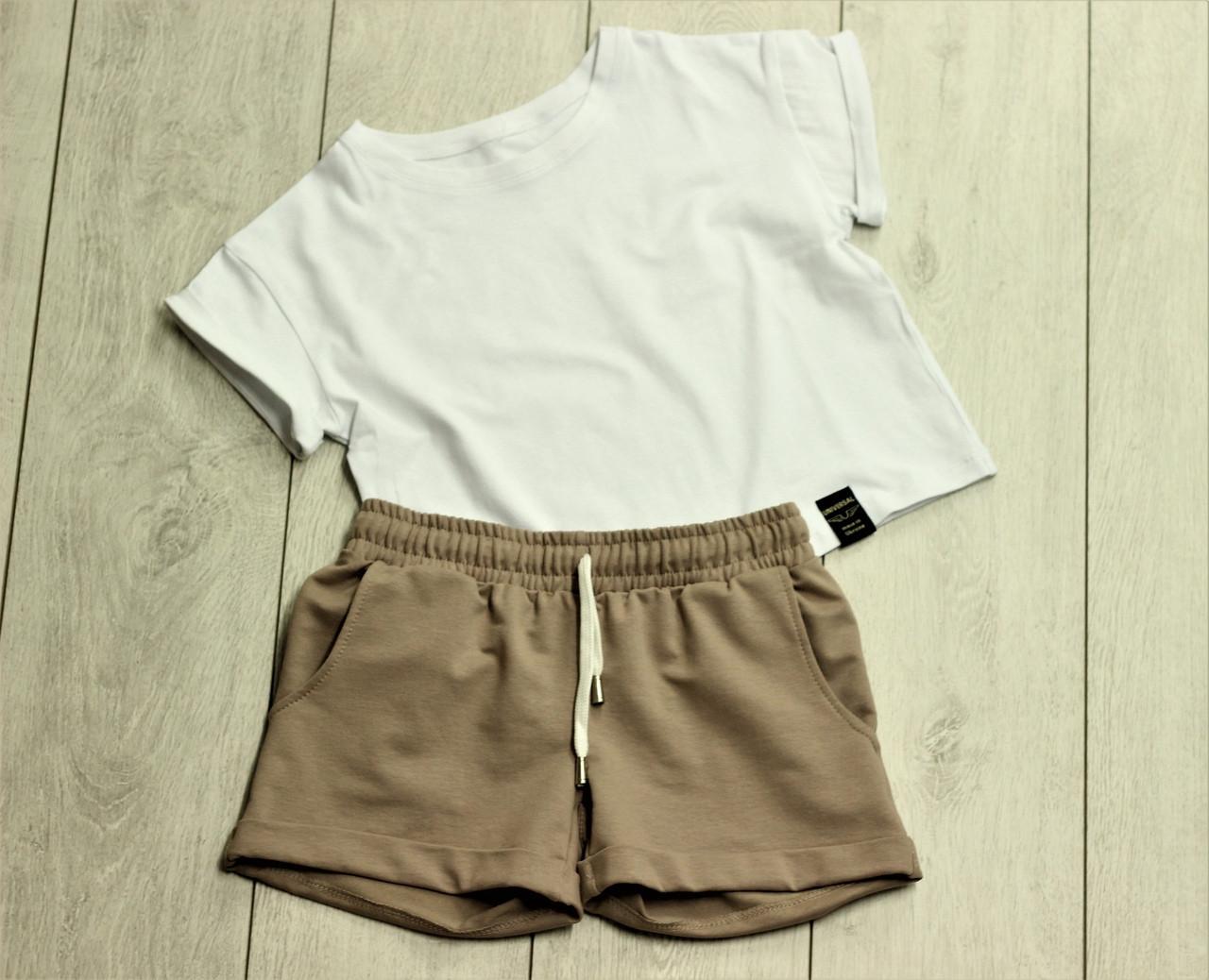 Футболка женская укороченая и шорты -комплект