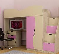 Детская кровать чердак для девочки Бантик Тинейджер МДФ