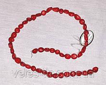 Бусы на леске  Коралл Бубочка красный галтовка 9 мм нить 40 см