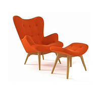 Кресло Флорино с отоманкой, оранжевый, бук