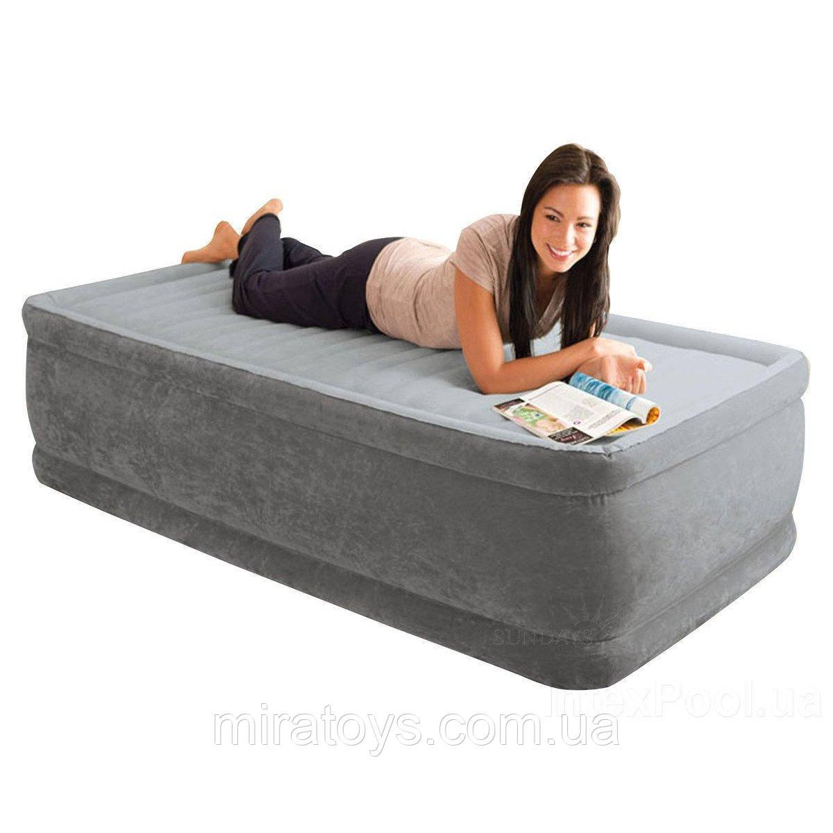 ✅Надувная кровать Intex 64412, 99 х 191 х 46 , встроенный электронасос. Односпальная
