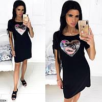 Летнее платье-футболка женское легкое свободное вискоза размер 42-46 универсальный, 4 цвета и 2 вида рисунка