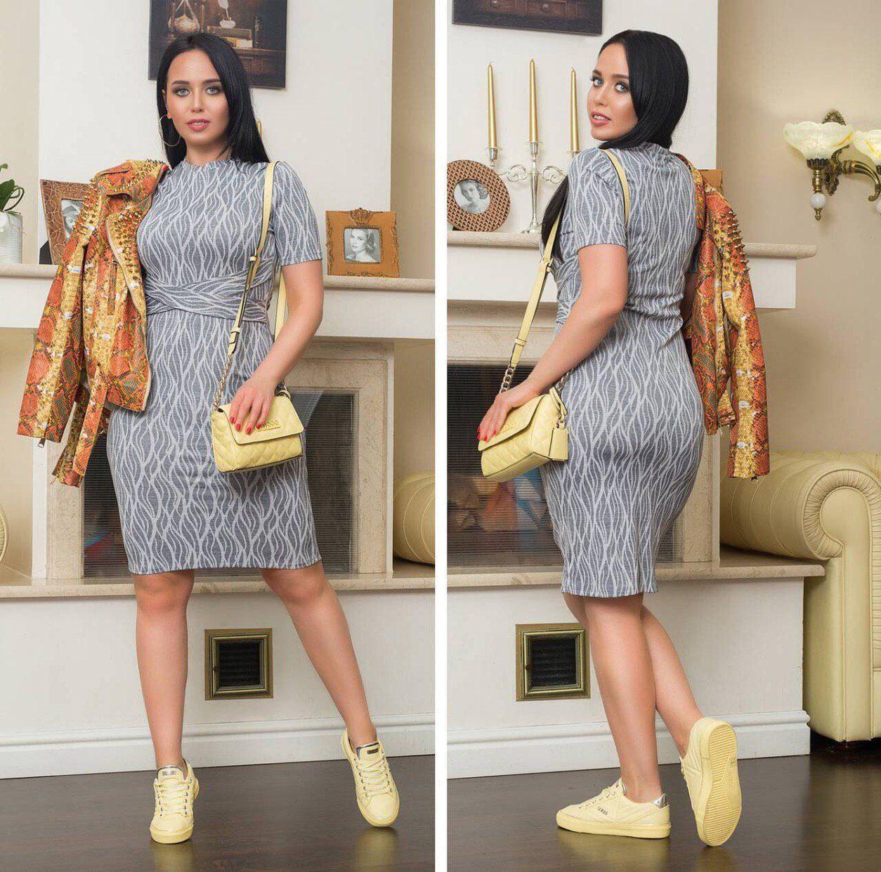 """Красивое женское платье """"Масло+трикотаж"""" 58, 60 размеры батал"""