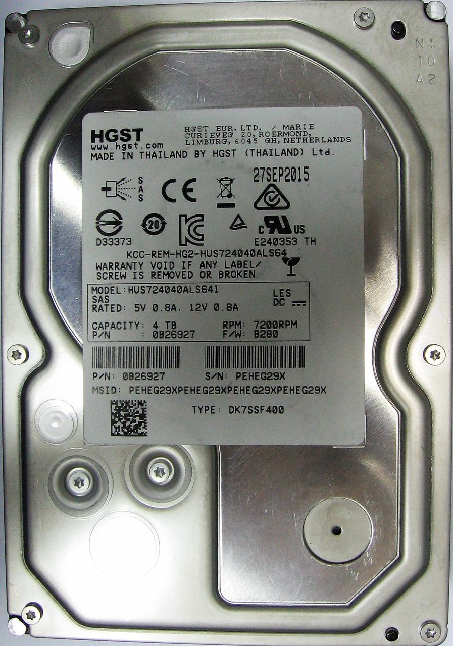 Жесткий диск HDD 4TB 7200rpm 64MB SAS 3.5 Hitachi HUS724040ALS641 PEHEG29X