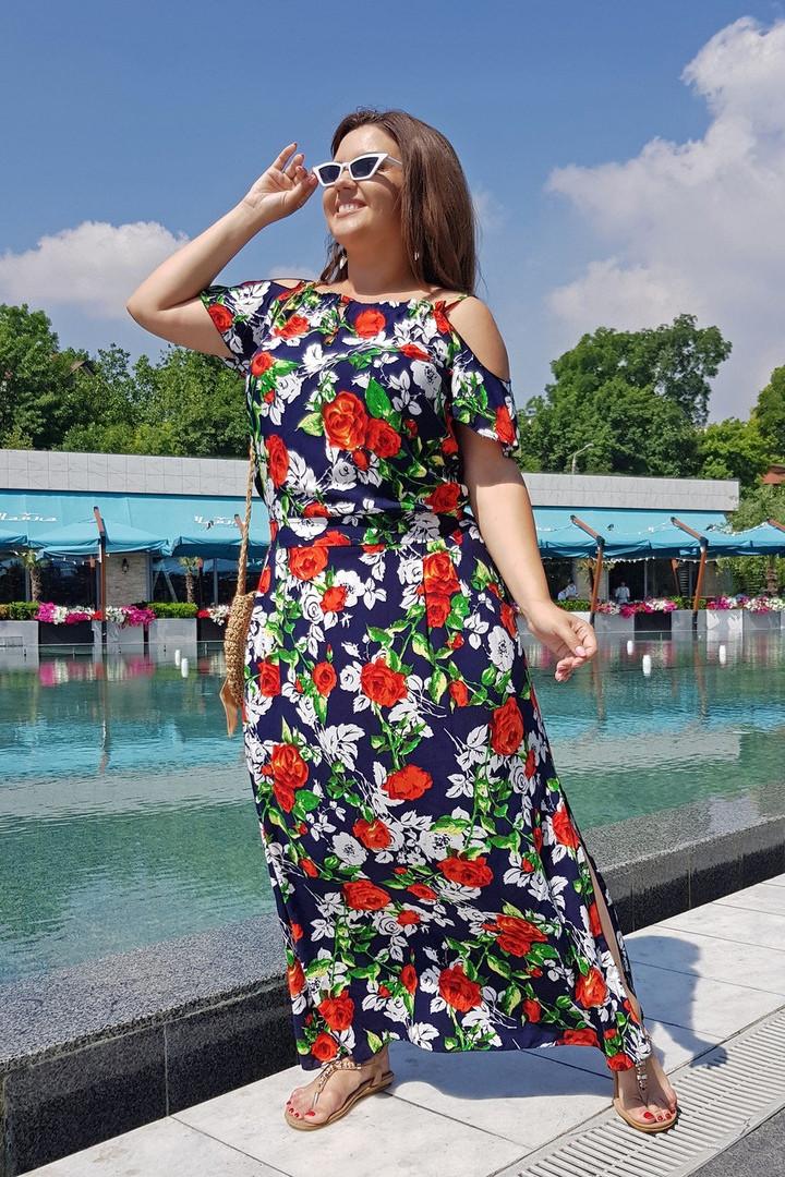 908ccd0973e8 Длинное женское летнее платье большие размеры с 48 по 58 р. Г04082 - Прямой  поставщик