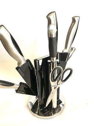 Кухонный набор ножей на подставке Benson BN-407 нержавеющая сталь 9 предметов, фото 2