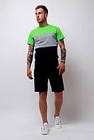Комплект Футболка трехцветная + шорты черные мужской летний стильный модный, цвет черный-серый-салатовый, фото 1
