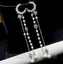 Длинные вечерние серьги tassel с жемчугом ювелирная бижутерия, фото 3