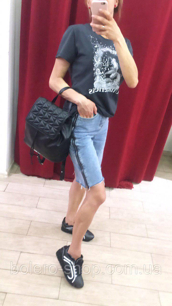 Женские шорты джинсовые удлиненные с молнией