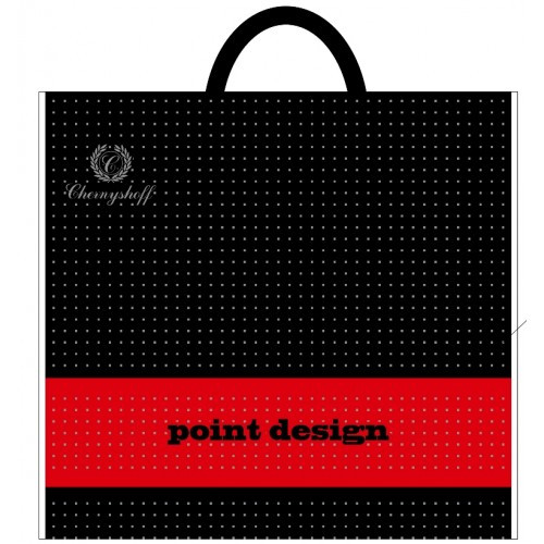 Поліетиленовий пакет з пластиковою ручкою 380*340 мм Десинг чорний