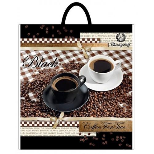 Полиэтиленовый пакет с пластиковой ручкой (сумка) ''Утро с кофе'' 380*340, 10 шт