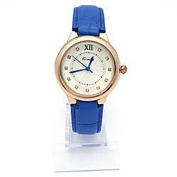 Часы KIMIO на синем ремешке, циферблат со стразами, длина ремешка 17-23см, циферблат 34мм