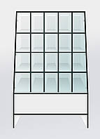 """Прилавок торговый со стеклянной витриной и ячейками ДСП белый """"СТАНДАРТ"""" СТ-27 140х90х50"""