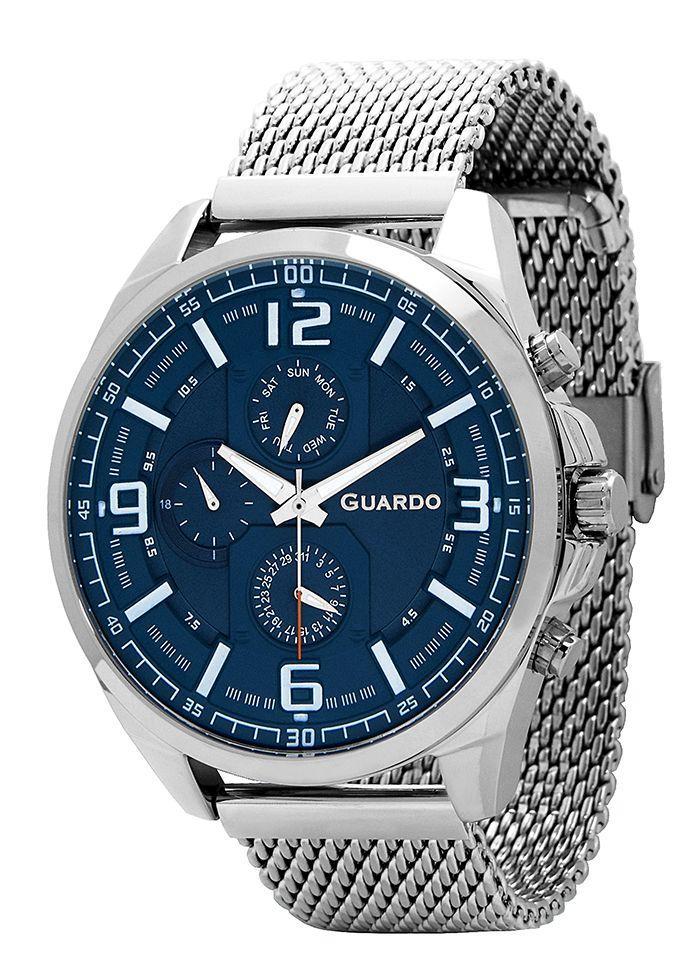 Годинники чоловічі Guardo B01361(1)-1 срібні