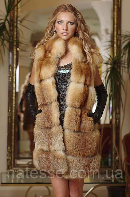 жилет из  лисы, spliced fox fur vest