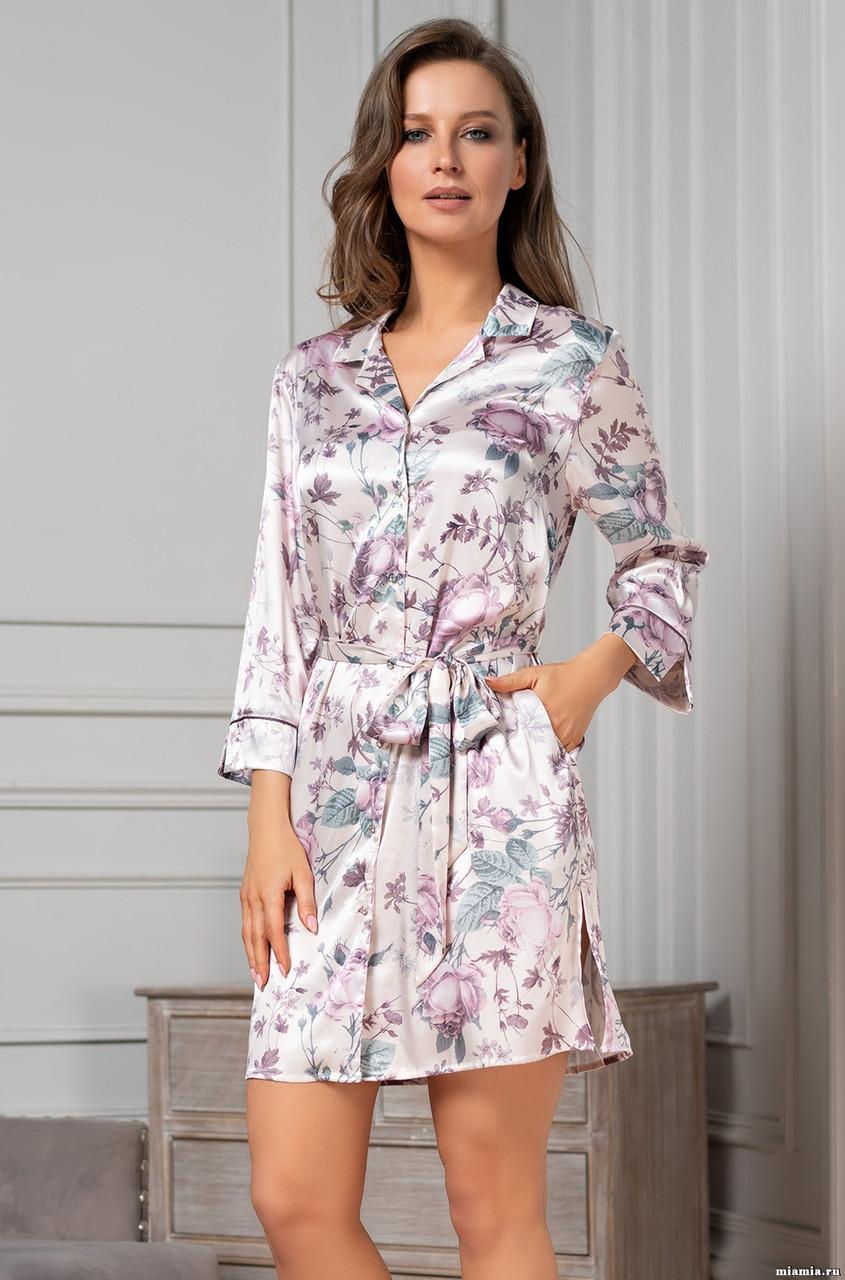 Халат-рубашка из натурального шелка Миракл 3547