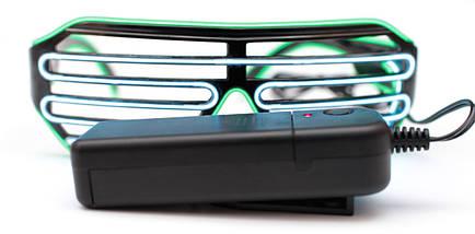 Светодиодные неоновые светящиеся ЛЕД очки решетка шторы комплект с инвентором LED Neon Party Glasses, фото 3