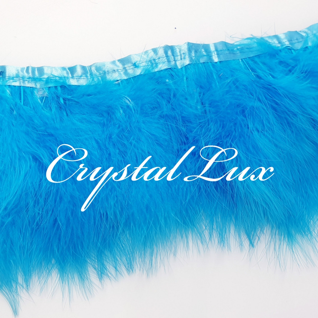 Тесьма из лебяжьих перьев 15-18см Blue 1м