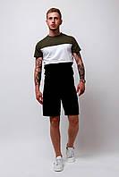Комплект Футболка триколірна + шорти чорні чоловічий літній стильний, модний, колір чорний-білий-хакі, фото 1
