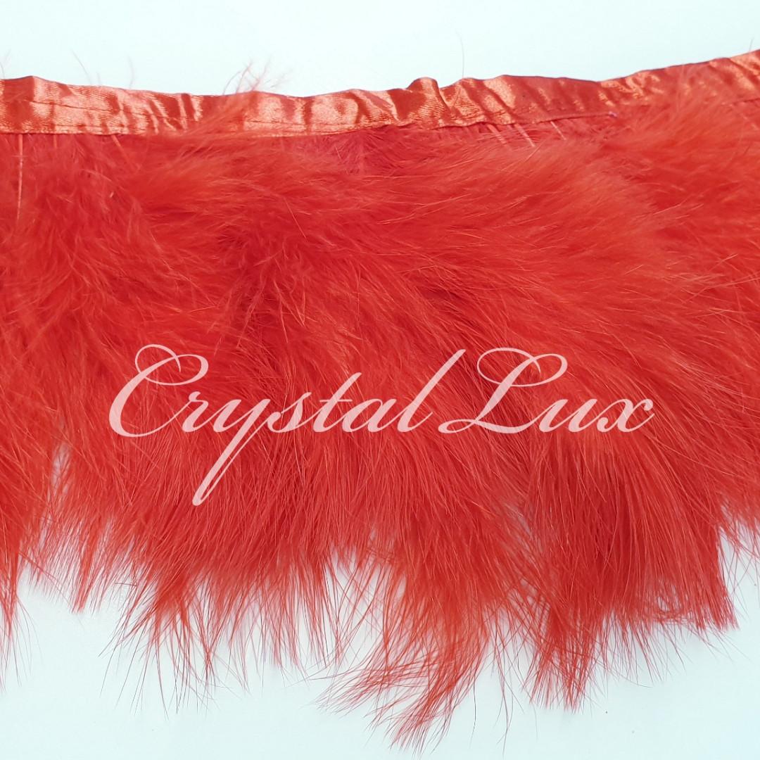 Тесьма из лебяжьих перьев 15-18см Red 1м
