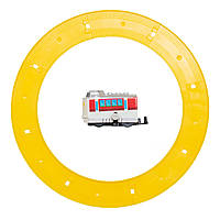 Поезд заводной с треком Aohua белый с красным, внешний диаметр трека 16 см, длина поезда 5,5 см, пластик. (8023A-3-2)