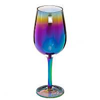 """Стеклянные цветные бокалы с гальвоническим покрытием """"Сияние"""" для белого вина 4шт."""