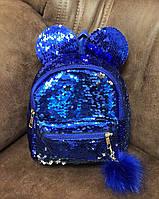 Детский рюкзак с ушками паетками и меховым помпоном. , фото 1